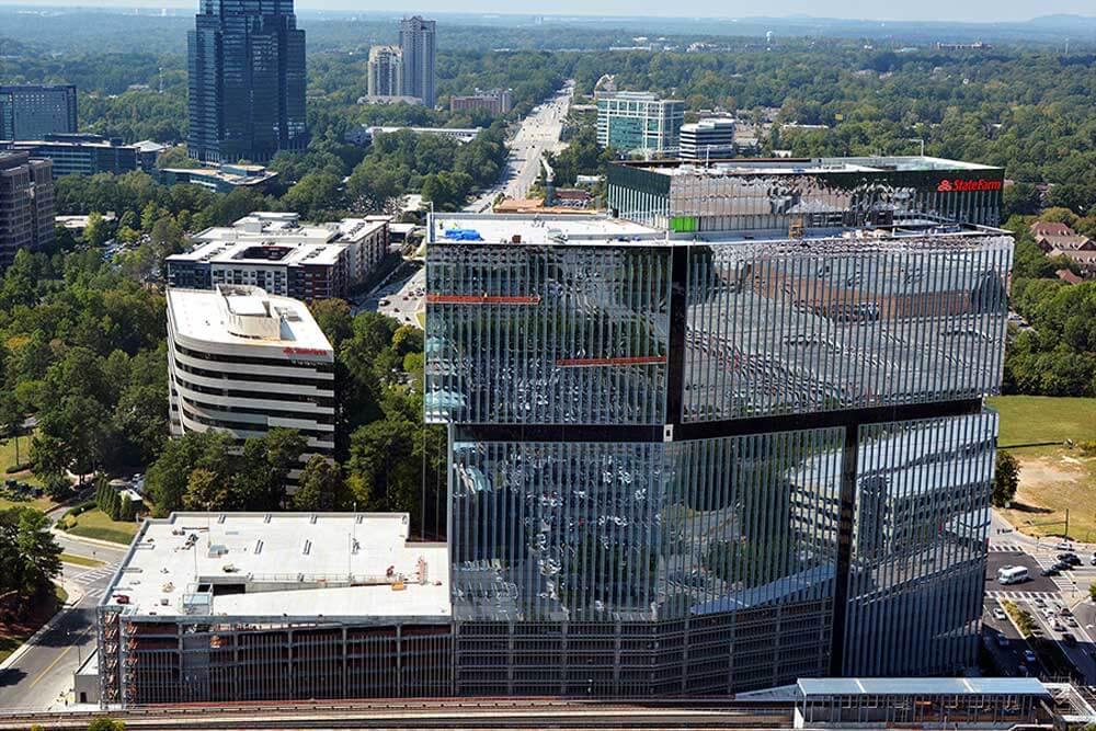Aerial photo of State Farm's new hub in downtown Atlanta, GA