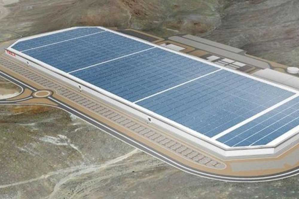 Aerial photo of Tesla's Gigafactory site