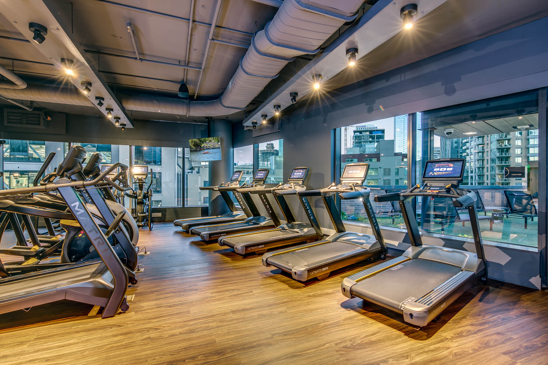 Fitness center at 970 Denny complete with treadmills and elliptical cardio machines