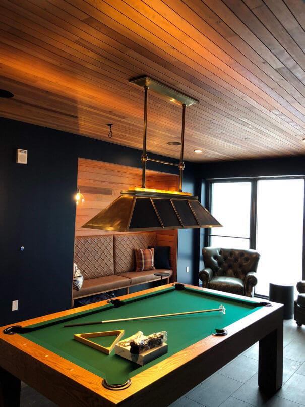 Pool table in billiards room at Block 294 in Portland