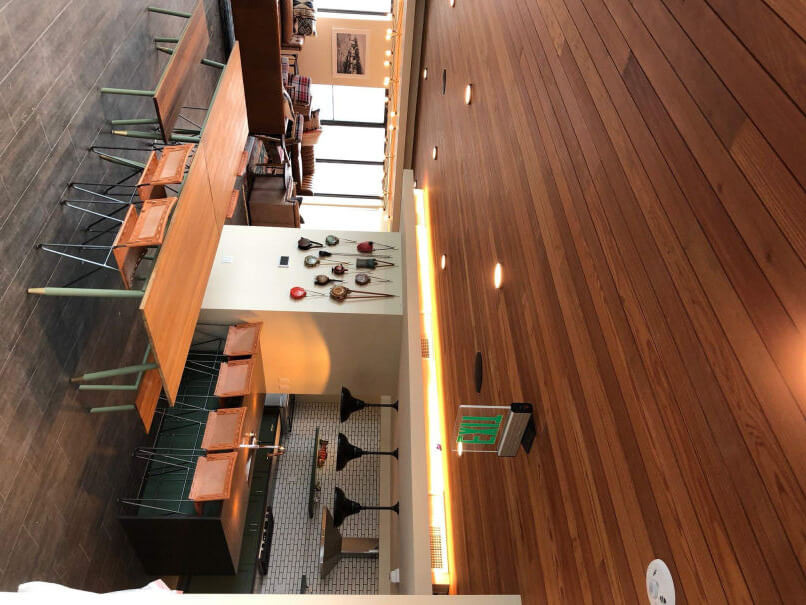 Wood-paneled acoustical ceilings in Block 294 residential towers in Portland