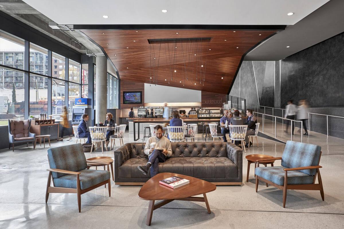 Wood paneled acoustical ceilings at NCR headquarters in Atlanta, GA