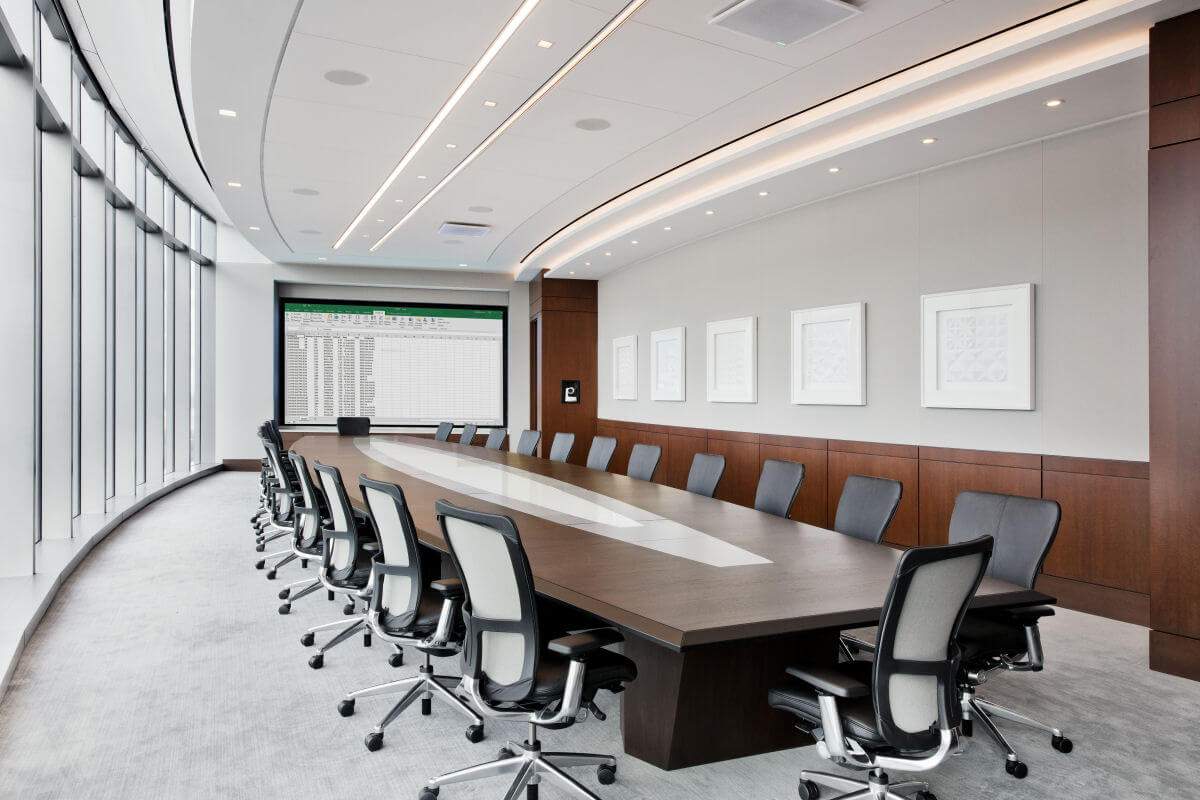 Executive conference room for major retail bank features floor-to-ceiling windows
