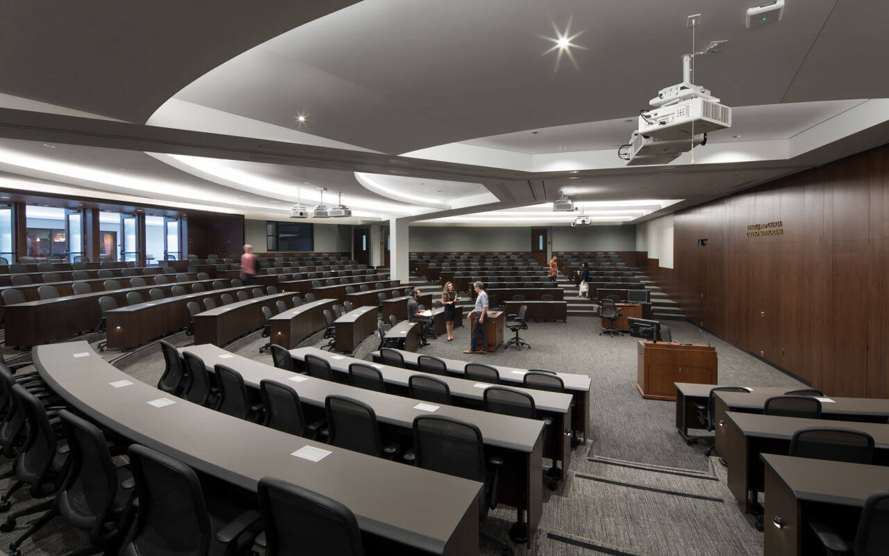 Pepperdine Law School renovated auditorium with acoustic panels