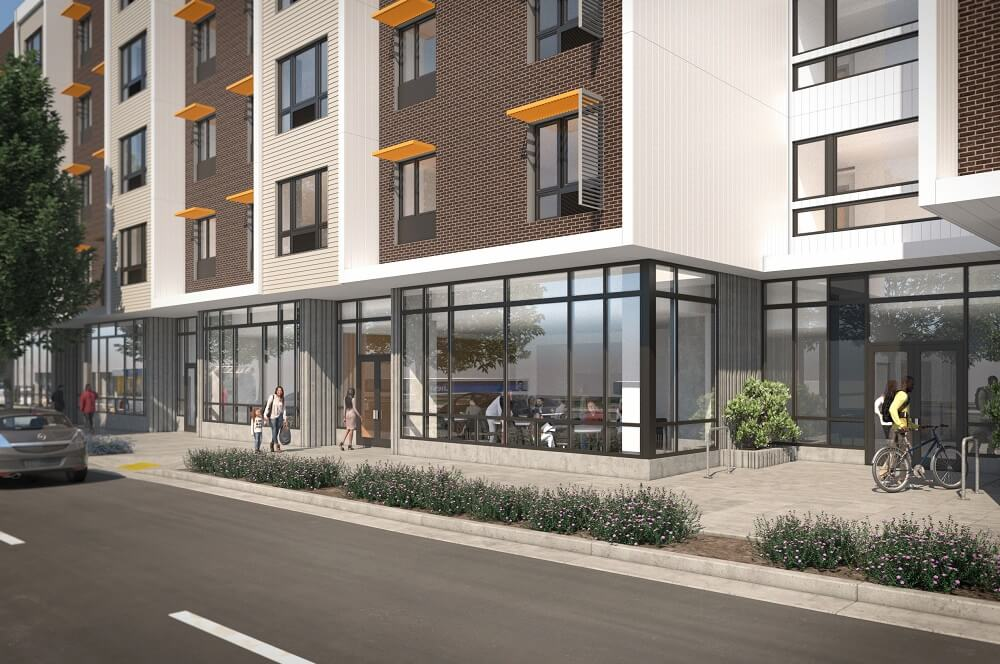 Exterior rendering of new affordable housing community Beatrice Morrow in Portland, OR