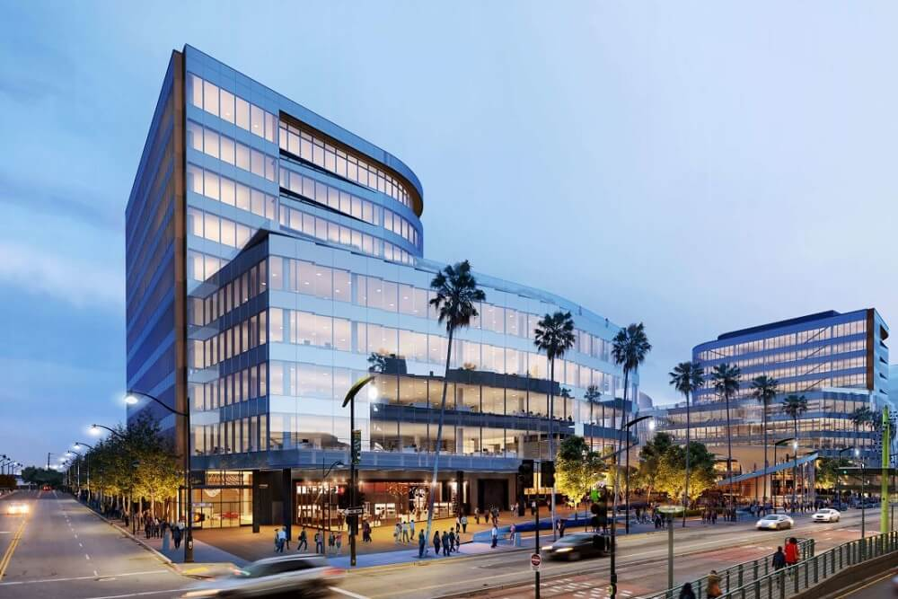 Exterior rendering of Uber Mission Bay company headquarters