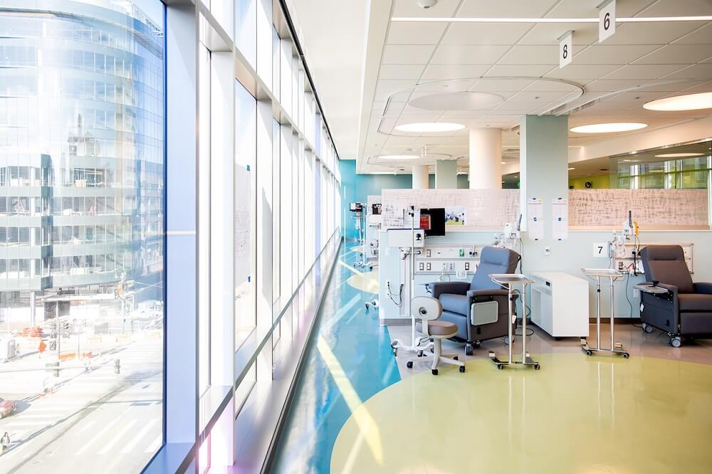 Patient care and treatment room at the Baker Precision Cancer Medical Building at Mission Bay