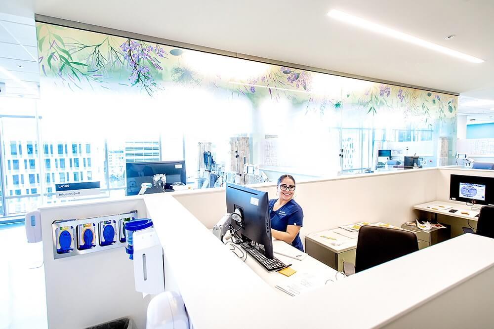 Inside the Baker Precision Cancer Medical Building at Mission Bay