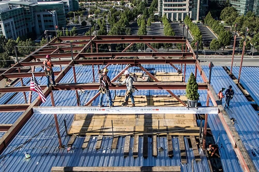 Topping off photo from Moffett Place Campus project in Northern California