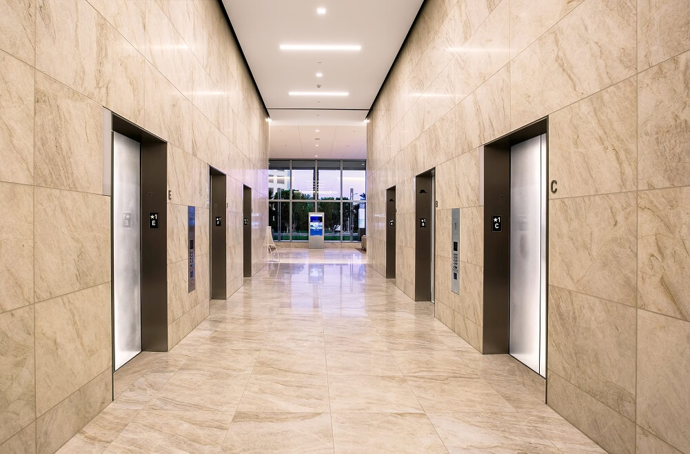 400 Spectrum elevator lobby that serves the 20-story office tower in Southern California.