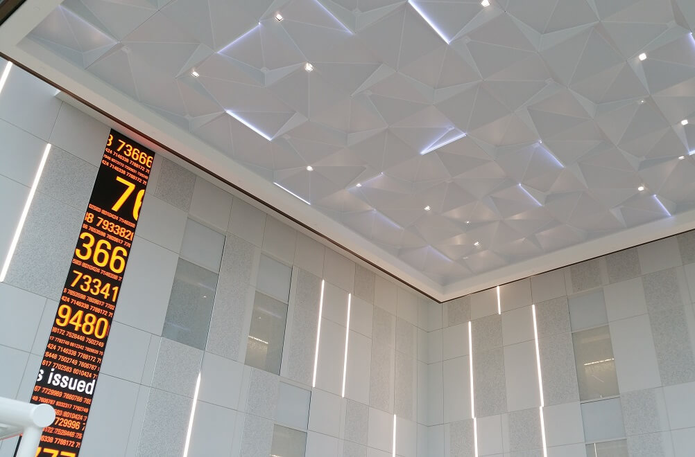 High end, multi-dimensional ceiling in Fiserv Headquarters in Atlanta, GA