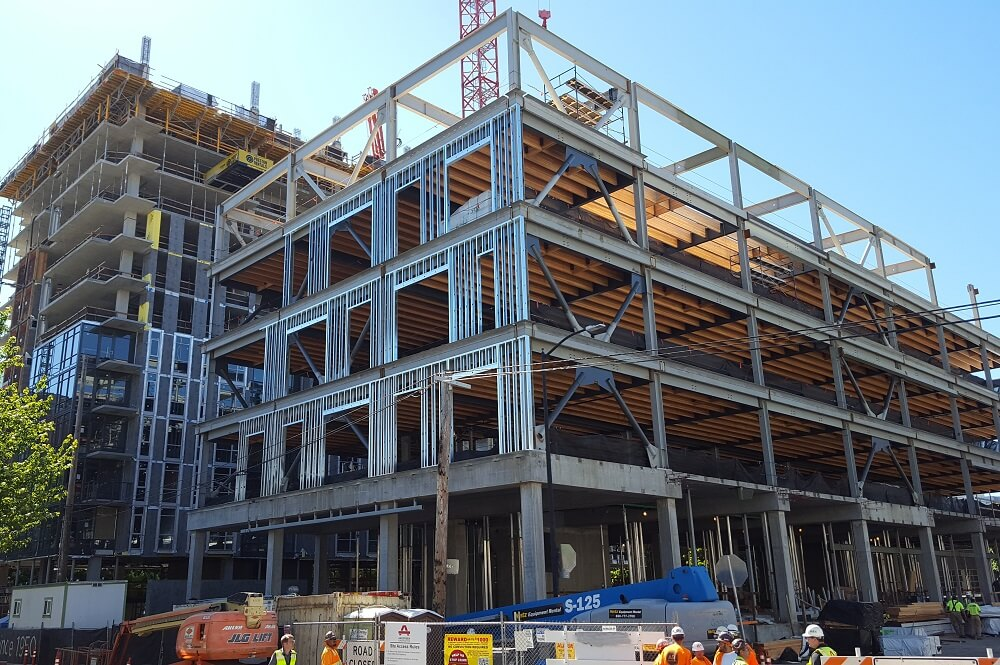 Exterior framing progress at Block 136 in Portland