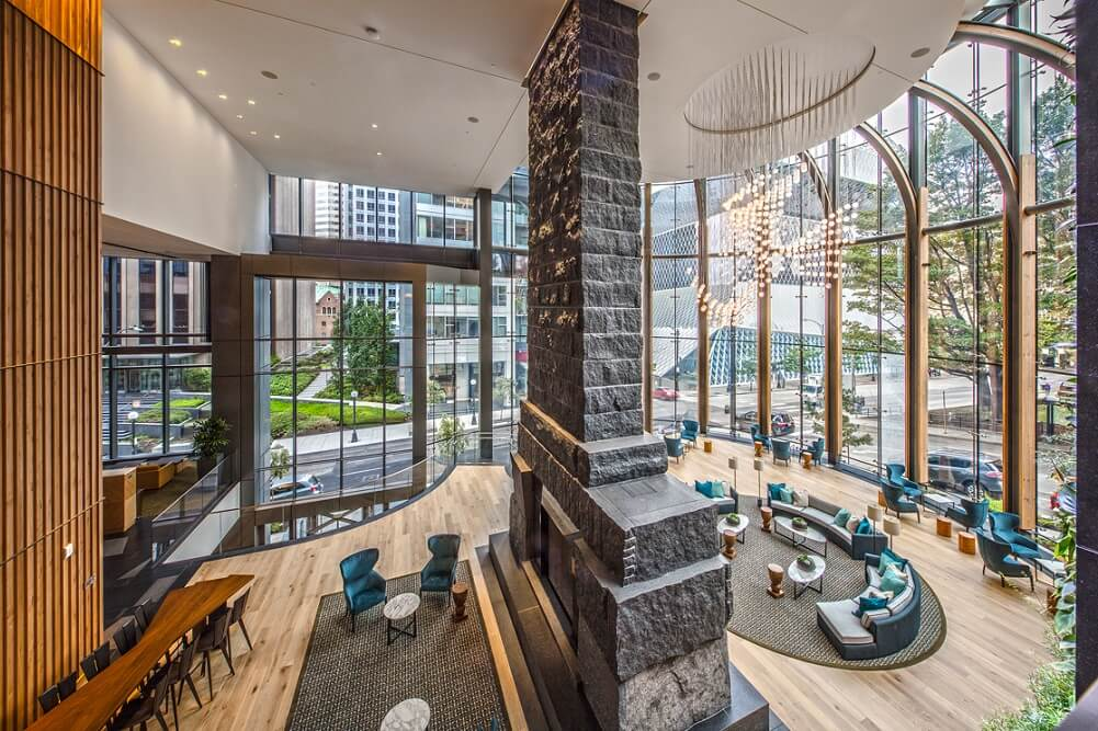 Madison Center in Seattle has a three-story fireplace
