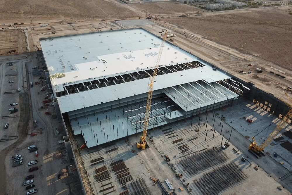 Aerial shot of construction at Tropical Distribution Center in Las Vegas.