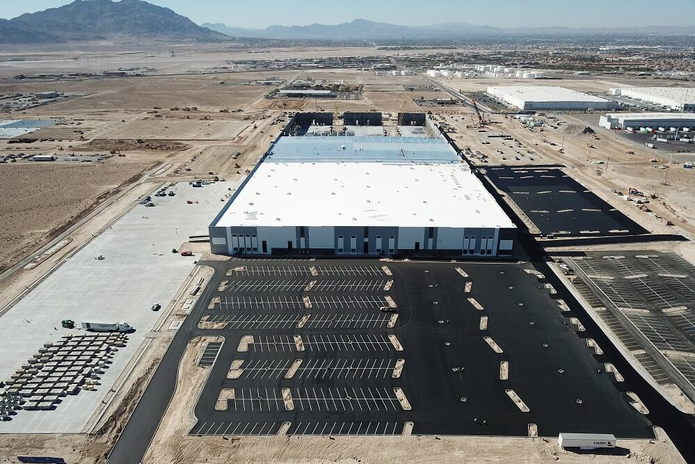Aerial shot of Tropical Distribution Center and parking lot in Las Vegas.