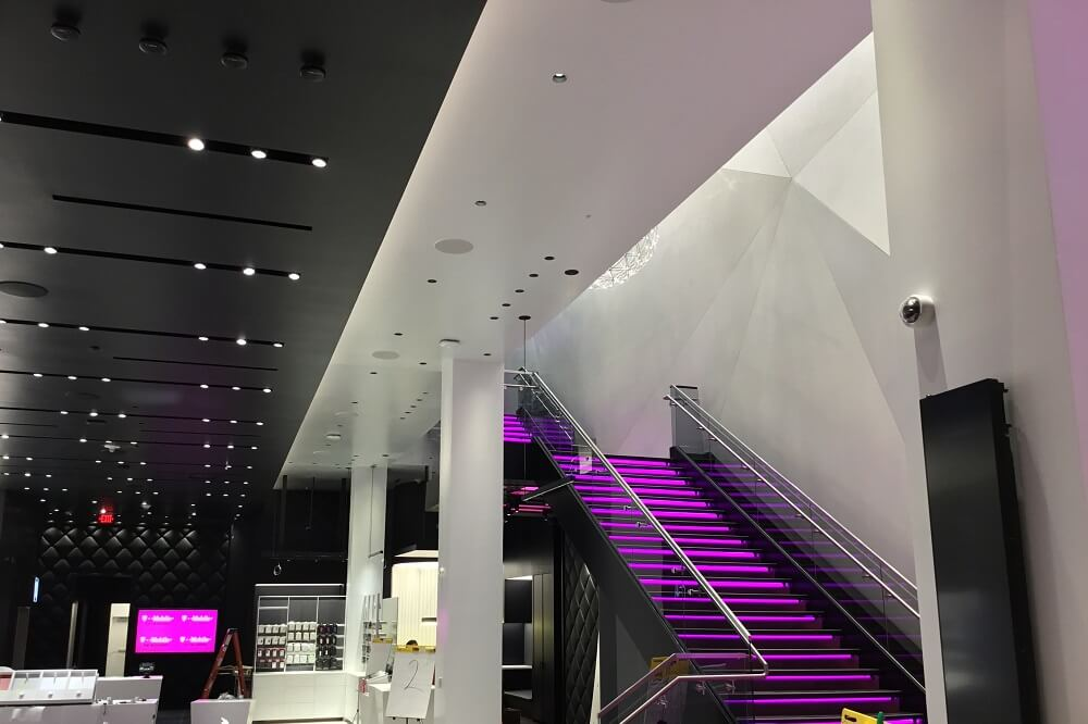 The new T-Mobile store at Showcase Mall in Las Vegas has a lighted staircase